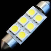 Светодиод SV8.5-T10*39-6SMD(5050)-12V белый