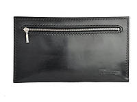 Кожаный мужской клатч ручной работы Tsar.store черного цвета с ручным прошивом и фурнитурой YKK