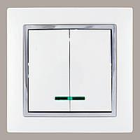 Выключатель двойной с подсветкой белый (без рамки)