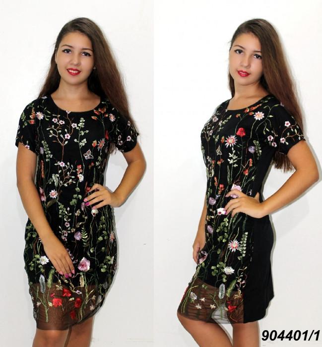 Платье трикотажное с вышитой сеткой,черное 42,44,46
