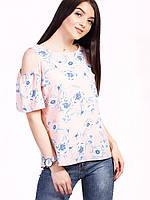 🌺 Летняя блузка розовая в цветочный принт , фото 1