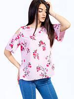 🌺 Летняя блуза розовая в цветочный принт , фото 1