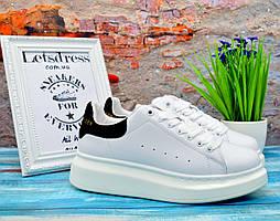 f3cc5360e РАСПРОДАЖА Женские кроссовки Alexander McQueen White Black Кожа Александр  Маккуин белые с черным кроссовки на платформе