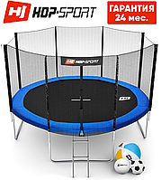 Батуты детские Hop-Sport  366 см. Синий с внешней сеткой - 4 ножки Для детей и взрослых. Гарантия 24 мес., фото 1