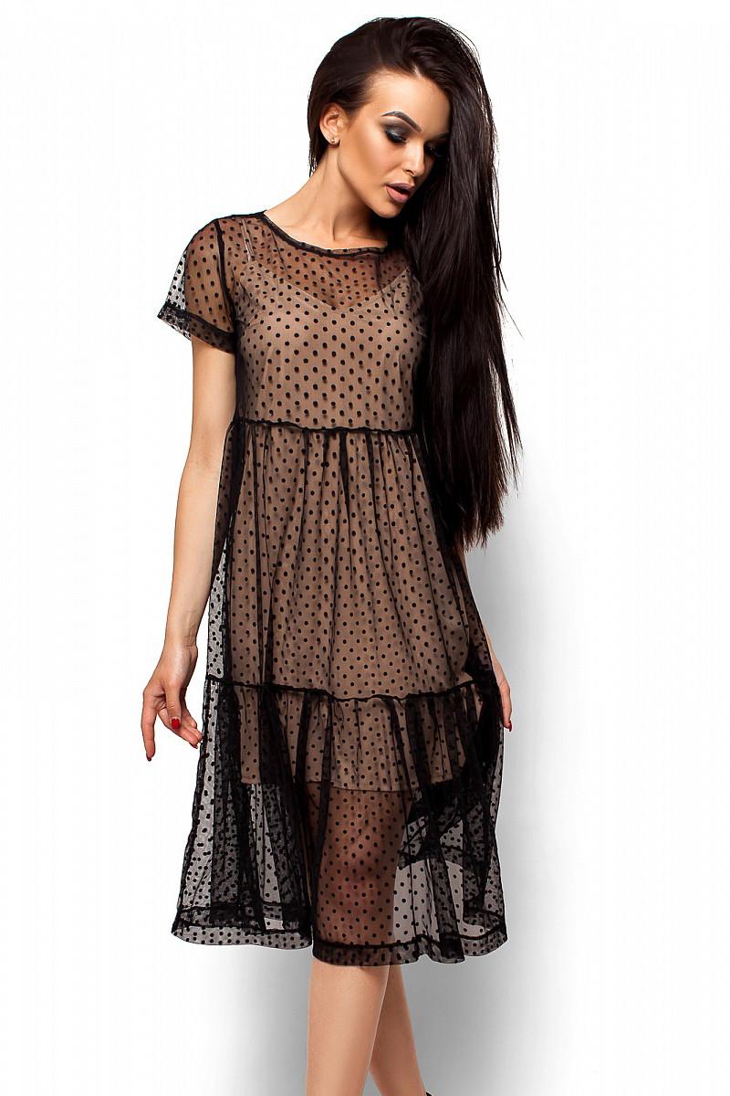 (S, M, L) Унікальне жіноче чорне плаття-двійка Jina