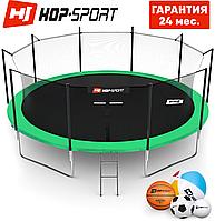 Батуты детские Hop-Sport  488 см. Зеленый с внутренней сеткой - 5 ножки Для детей и взрослых. Гарантия 24 мес.