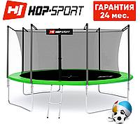Батуты детские Hop-Sport  427 см. Зеленый с внутренней сеткой - 4 ножки Для детей и взрослых. Гарантия 24 мес.