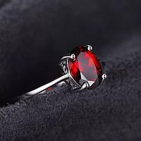 Серебряное кольцо - красный гранат 1.6ct. 100%КАЧЕСТВО!