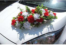 """Свадебные украшения на машину икебана на присосках   """"Цветник"""""""