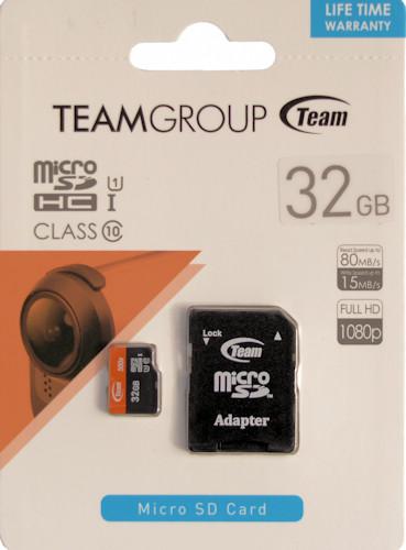 TEAM micro SDHC UHS-I Class 10 32 GB с адаптером (TUSDH32GUHS03)