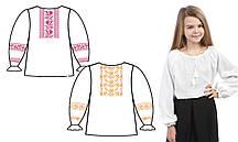 160-12-09 Сорочка для девочек под вышивку, белая, длинный рукав, Код товара: 1030708