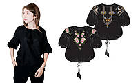 ТПК-172 03-02/09 Сорочка женская под вышивку, черная, 3/4 рукав, Код товара: 1030770
