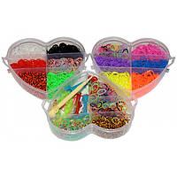 """Набор для плетения Rainbow Loom Bands """"Сердце"""" 3200 резиночек трехъярусный"""