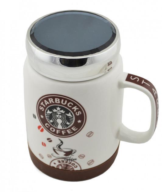 Чашка керамічна з кришкою Starbucks SH 025-1 Brown гуртка Старбакс