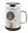 Чашка керамічна з кришкою Starbucks SH 025-1 Brown гуртка Старбакс, фото 5