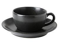 Чашка чайная с блюдцем - 200 мл, Черная (Porland) Seasons Black