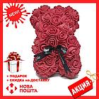 Гарний ведмедик з латексних 3D троянд 40 см з стрічкою в подарунковій коробці | Бордо, фото 2