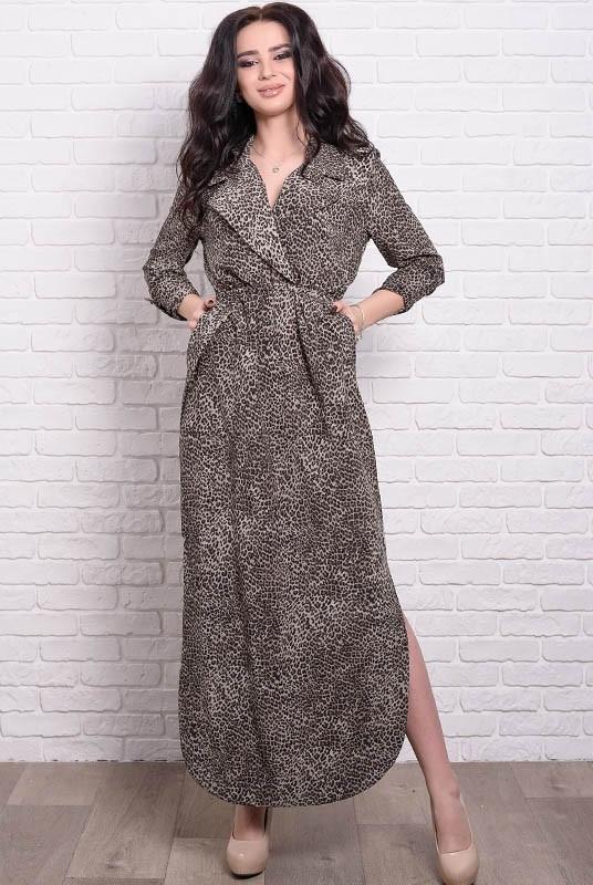 Женское платье Шимер с лепардовым принтом 42 Шоколадное (017iuA018)