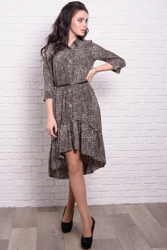 Платье Флора Леопард 42 Шоколад (017бьтвчыС055)