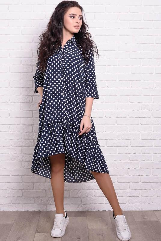 Свободное платье Флора 42 в горошек Синий (017ывпрС046)