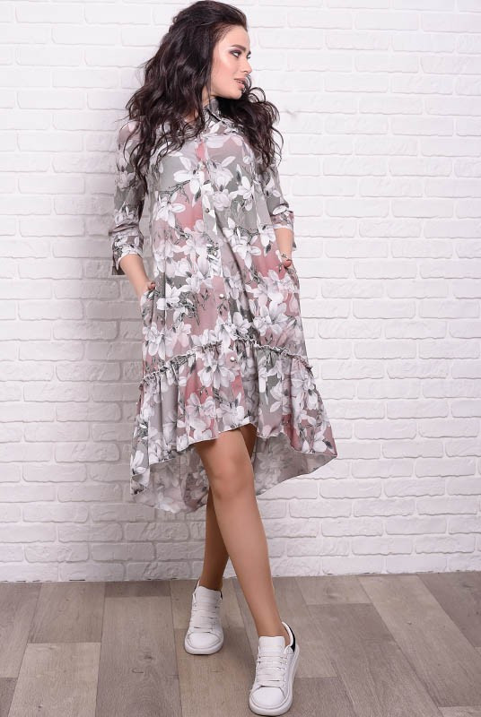 Женские платья Флора с цветочным рисунком Лилии 42 Капучино (017твпоС064)