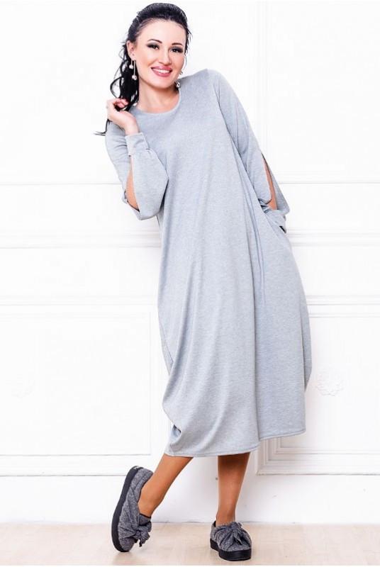 Платье мешок Доменик 42 Серый (017арарС071)