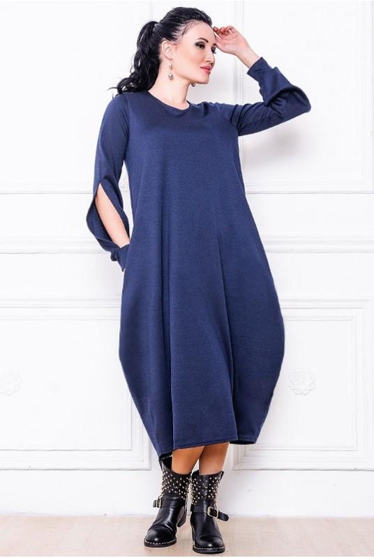 Платье мешок Доменик 42 Темно-синий (017рпавС067)