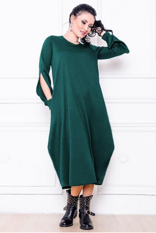 Платье мешок Доменик 42 Изумрудный (017хэажаС070)