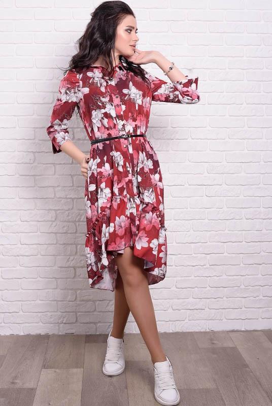 Женские платья Флора с цветочным рисунком Лилии 42 Бордовый (017уцпфуС066)