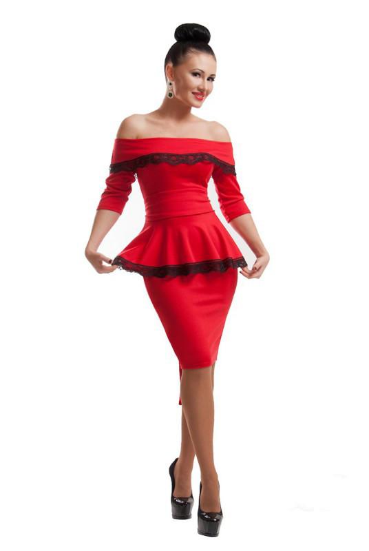 Платье с баской Френч 42 Красное (017ввжС0211)