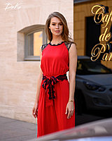 Длинное штапельное Платье с кружевным гипюром,пояс 42/44, 46/48   Цвет- зелёный, красный, джинсовый, фото 1