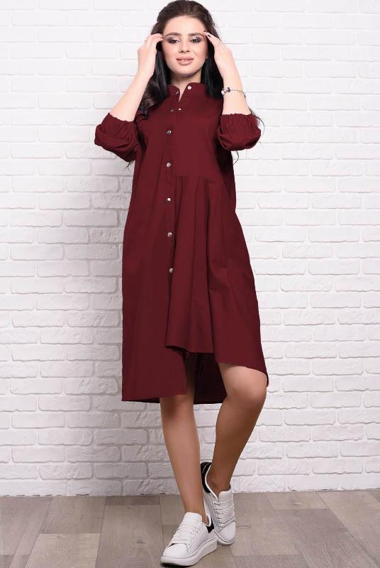 Платье с асимметрией Герда 54 Бордовый (017колмМАБ0067)