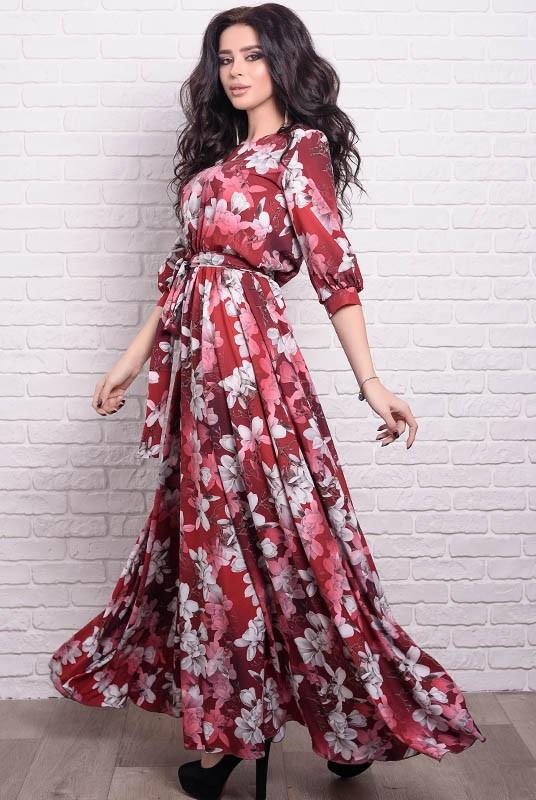 Женское платье макси Ванесса Лилии 42 Бордовое (017мппМАБ00104)