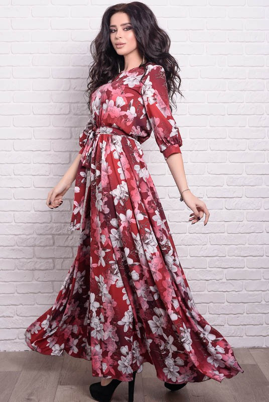 Женское платье макси Ванесса Лилии 56 Бордовое (017тлшМАБ0055)