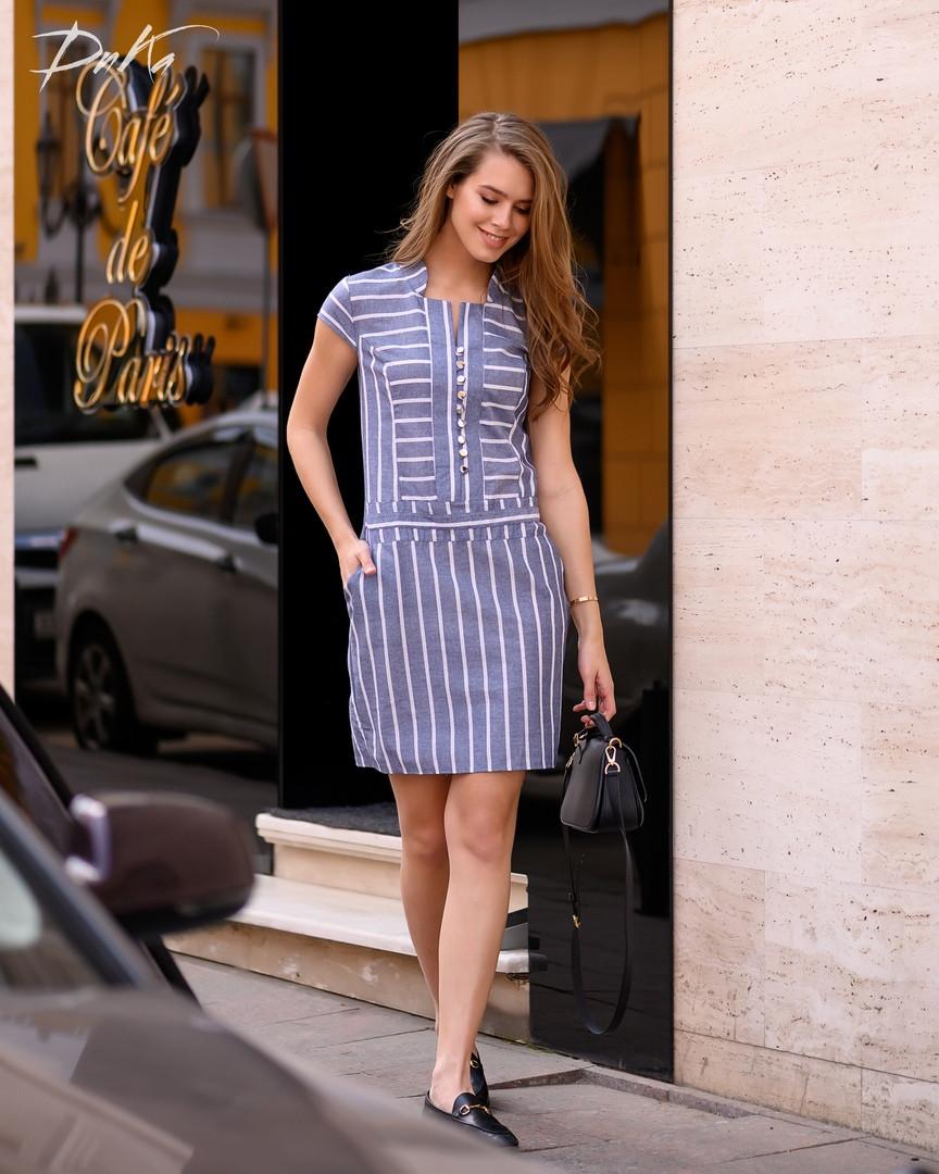 Платье стройнящее  в полоску  42.44.46.48   Цвет-  на фото