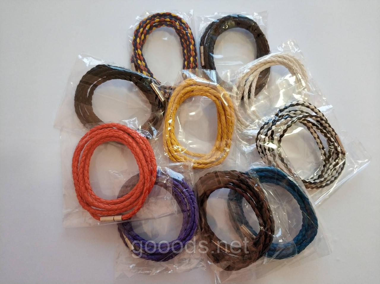 Плетёный кожаный браслет на руку, 10 цветов