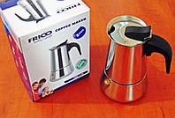 Гейзерная нерж кофеварка на 2 чашки, фото 1