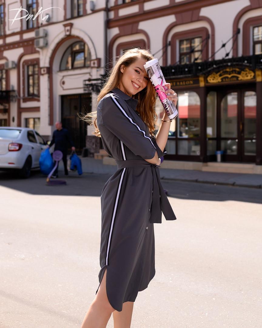 Платье - рубашка с поясом   42-44.46-48  Цвет-  хаки, серый ,черный