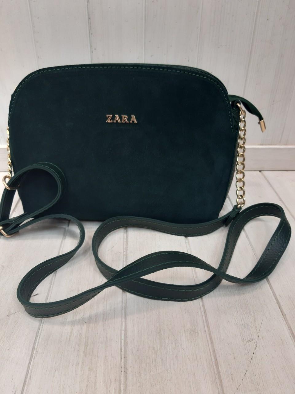 Женская Сумочка Zara клатч из натуральной замши. Зелёный