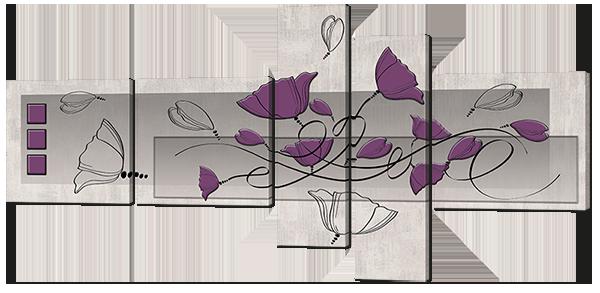 Модульная картина Interno Искусственный холст  Маки абстракция 168х84см (Z658L)