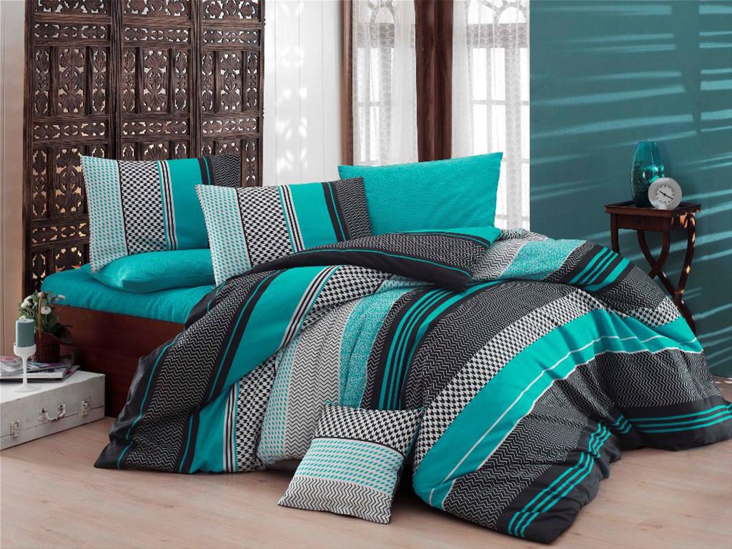 Комплект постельного белья евро на резинке 200*220 хлопок (12066) TM KRISPOL Украина