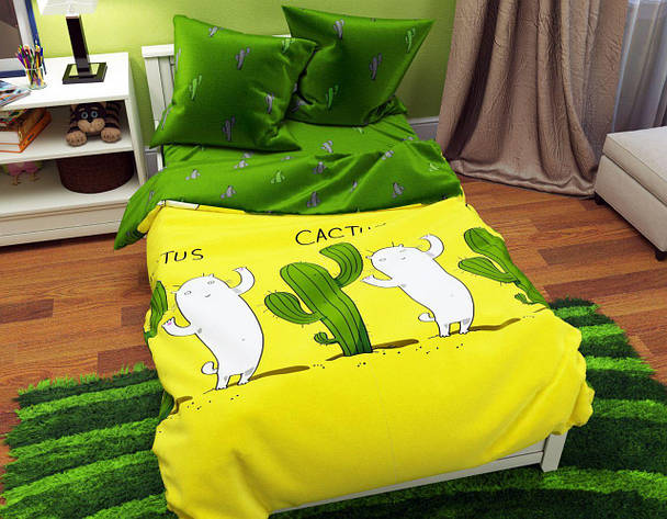 Комплект постельного белья евро на резинке 200*220 хлопок (12075) TM KRISPOL Украина, фото 2