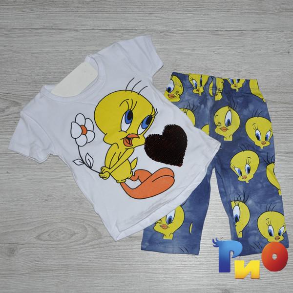 Летний костюм (футболка , лосины) , с паетками,  для девочки (1-4 года) (4 ед. в уп.)