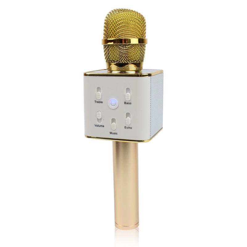 Беспроводной микрофон караоке bluetooth золотистый Q7 MS 130336