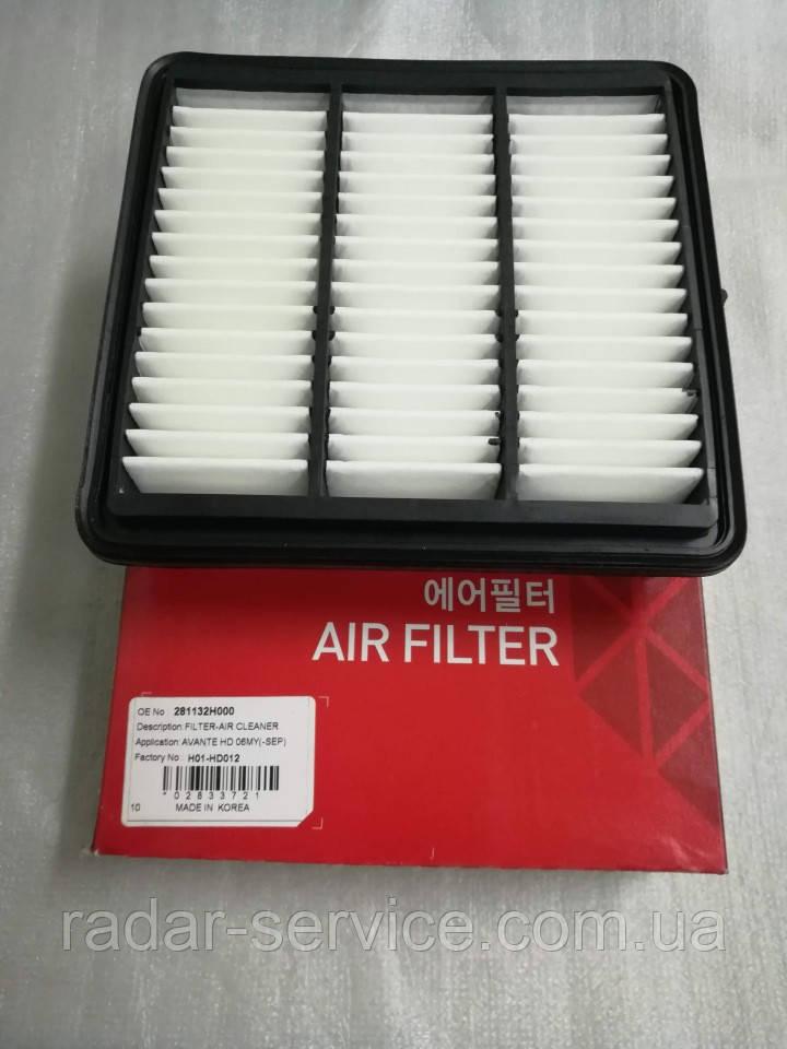 Фильтр воздушный киа Сид 1 1.4-1.6i, cee'd 2006-09 ED, H01-HD012, 281132h000
