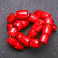 Бусины натуральный Коралл красный галтовка рубка цилиндр d-15х20мм(+-) L-40см (+-)