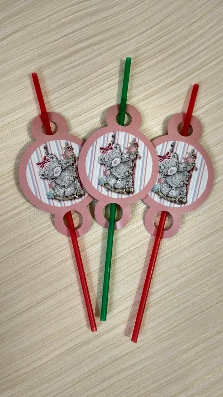"""Коктейльные трубочки """" Тедди на розовом    """" 10 шт"""