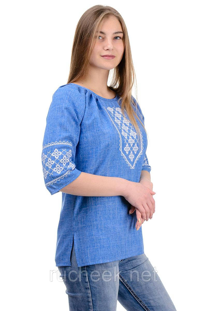 Женская блуза-вышиванка лен-габардин (джинс)