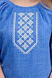 Женская блуза-вышиванка лен-габардин (джинс), фото 5