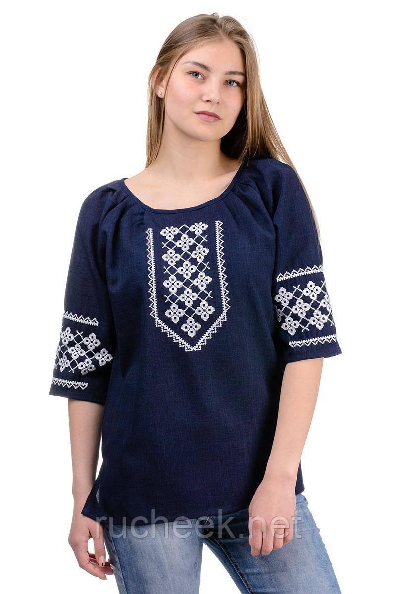 Женская блуза вышиванка (темно-синий)